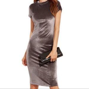 Zara Trafaluc Mock Neck Velvet Midi Dress Small